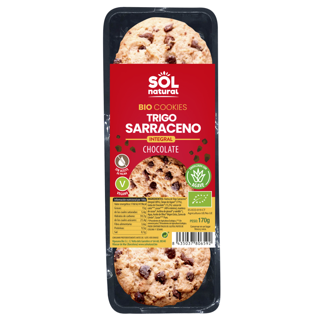 COOKIES DE TRIGO SARRACENO Y CHOCOLATE BIO