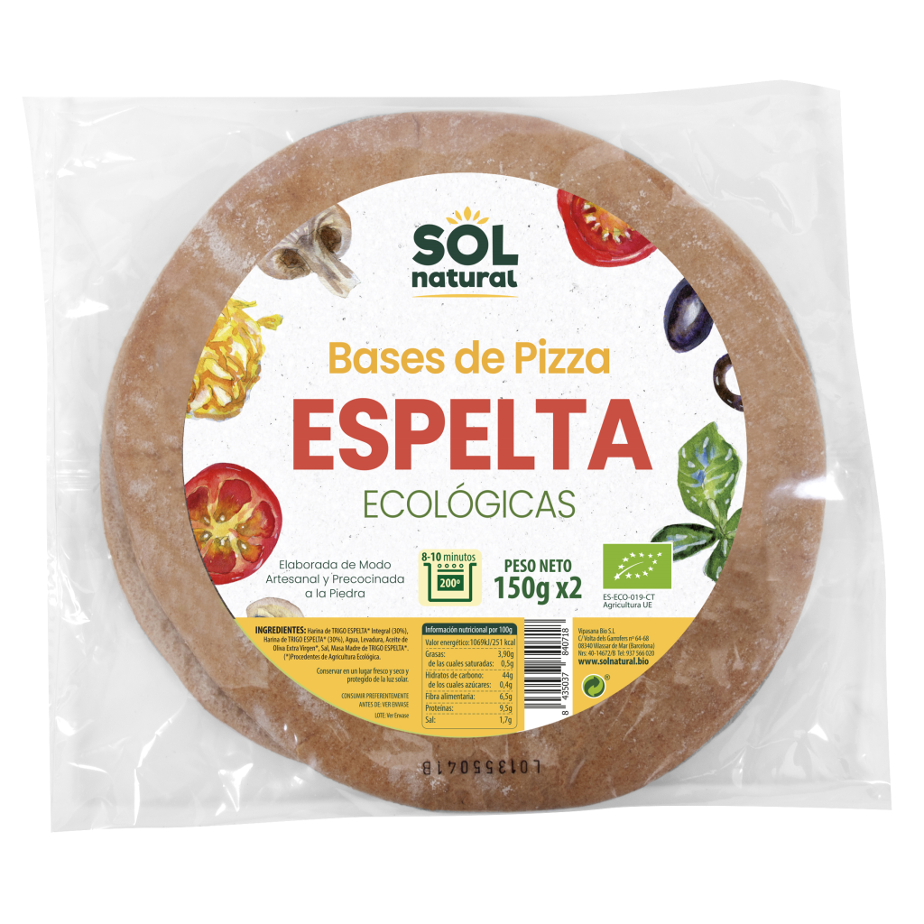 BASE DE PIZZA ESPELTA INTEGRAL MASA GRUESA BIO