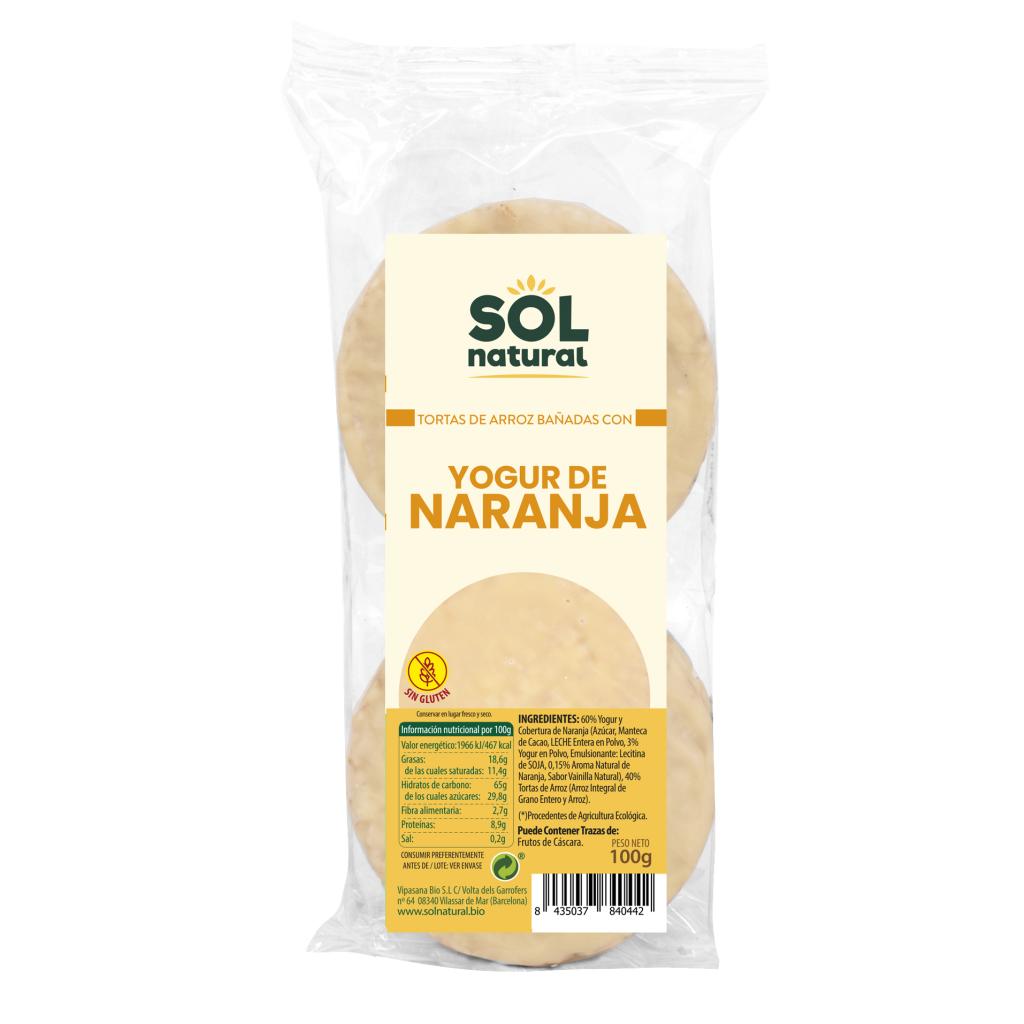 TORTAS DE ARROZ BAÑADAS CON YOGUR DE NARANJA