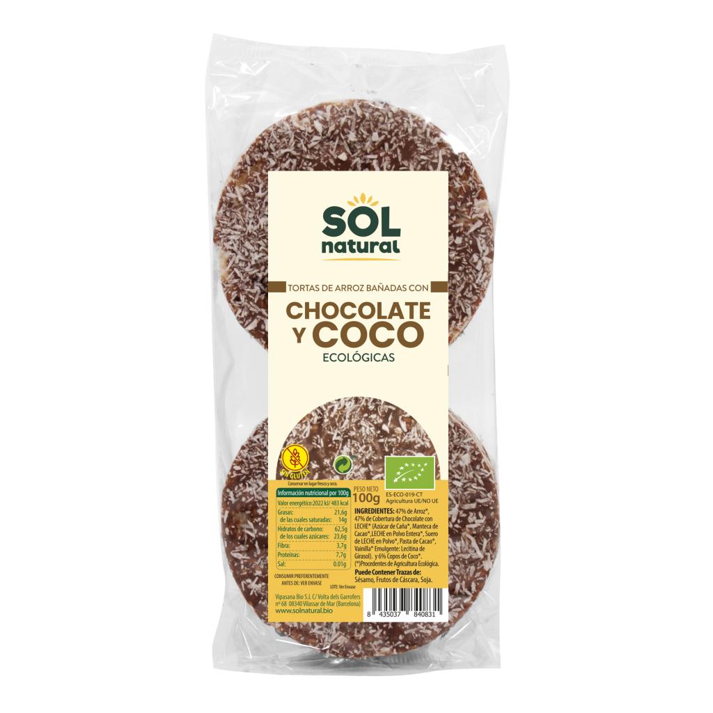 TORTAS DE ARROZ BAÑADAS CON CHOCOLATE Y COCO BIO