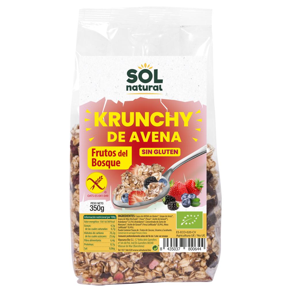 KRUNCHY DE AVENA SIN GLUTEN FRUTOS DEL BOSQUE BIO