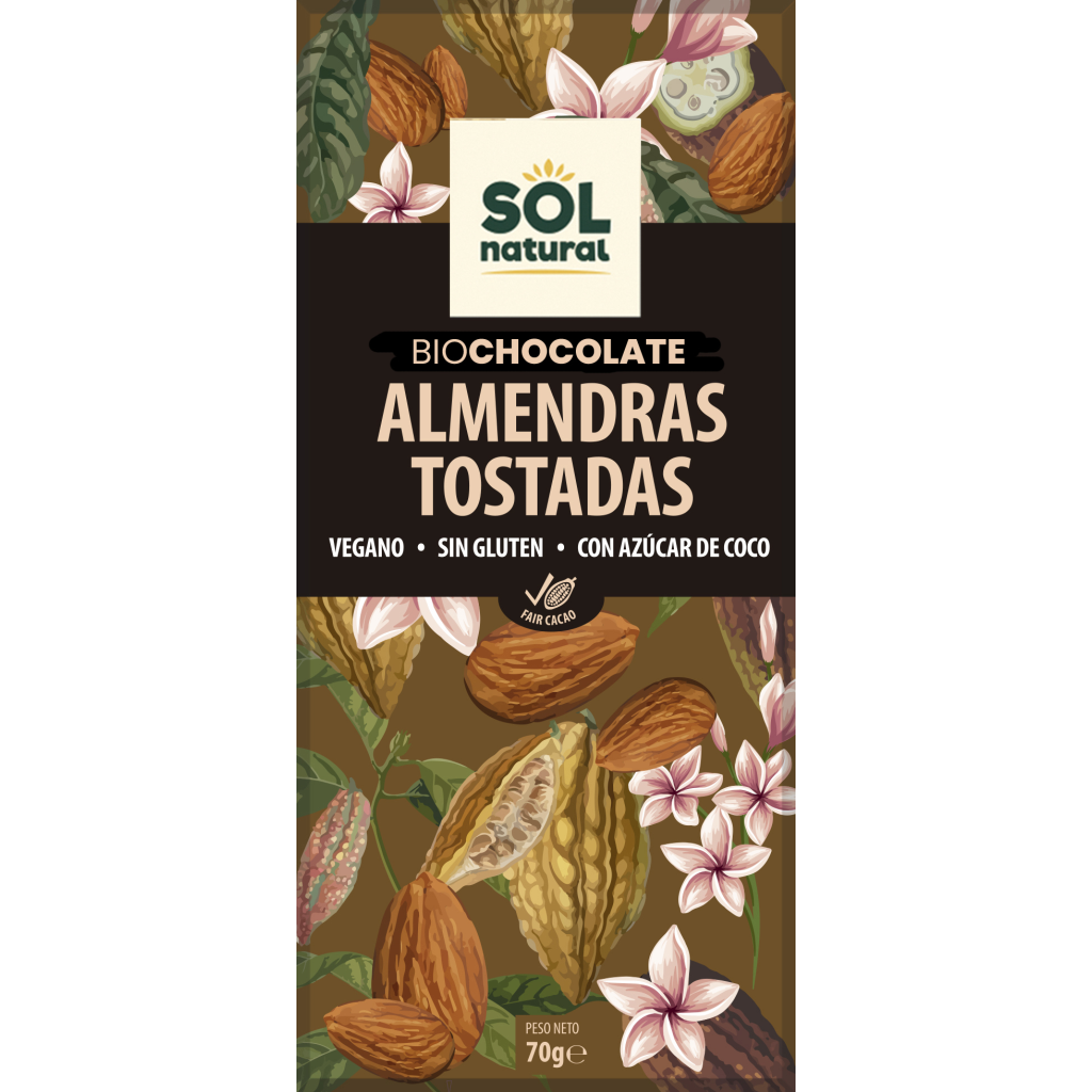 TABLETA DE CHOCOLATE Y ALMENDRAS BIO
