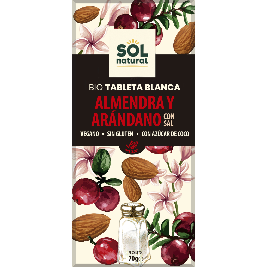 TABLETA CHOCOLATE BLANCO CON ALMENDRAS Y ARÁNDANOS