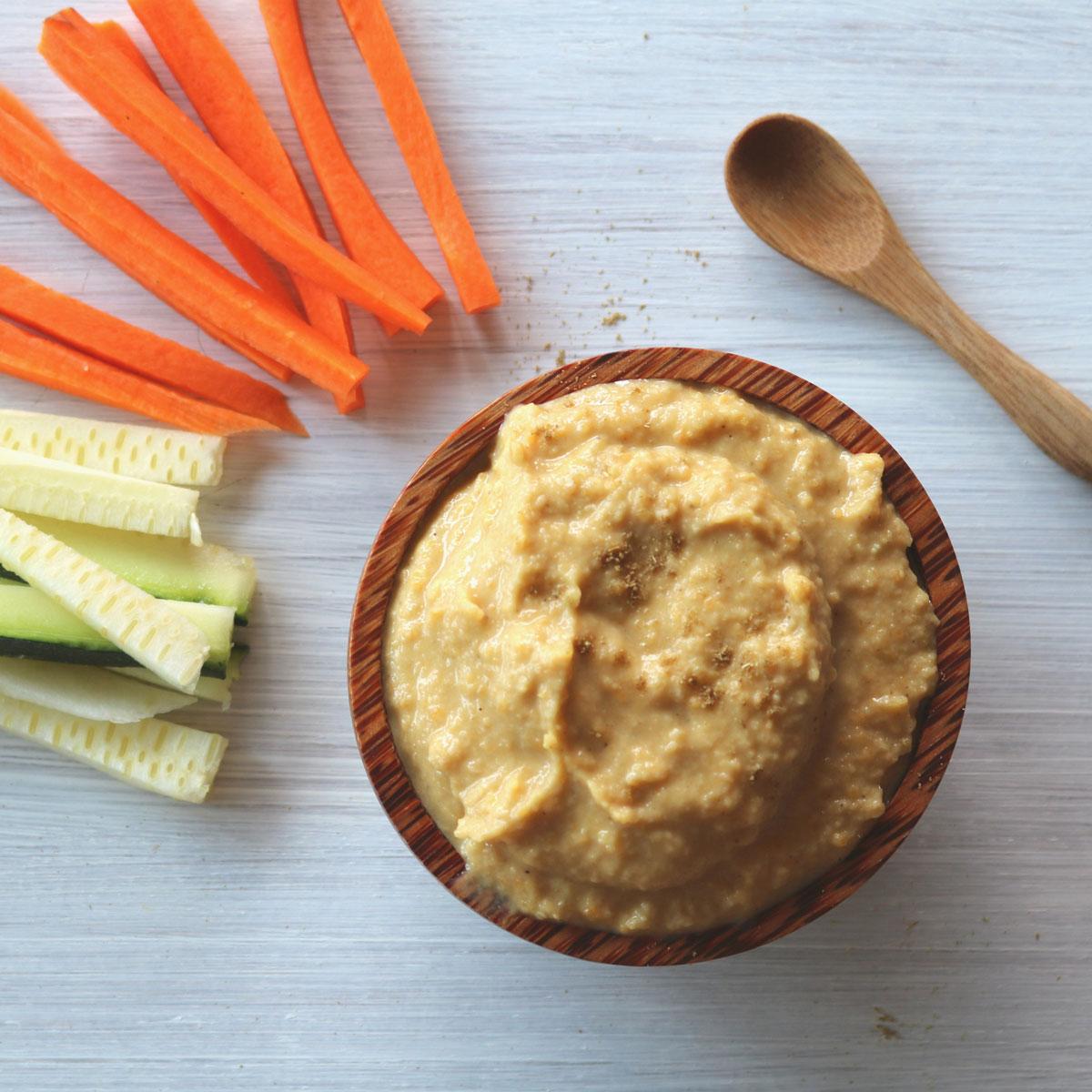 Hummus de lentejas rojas y calabaza asada