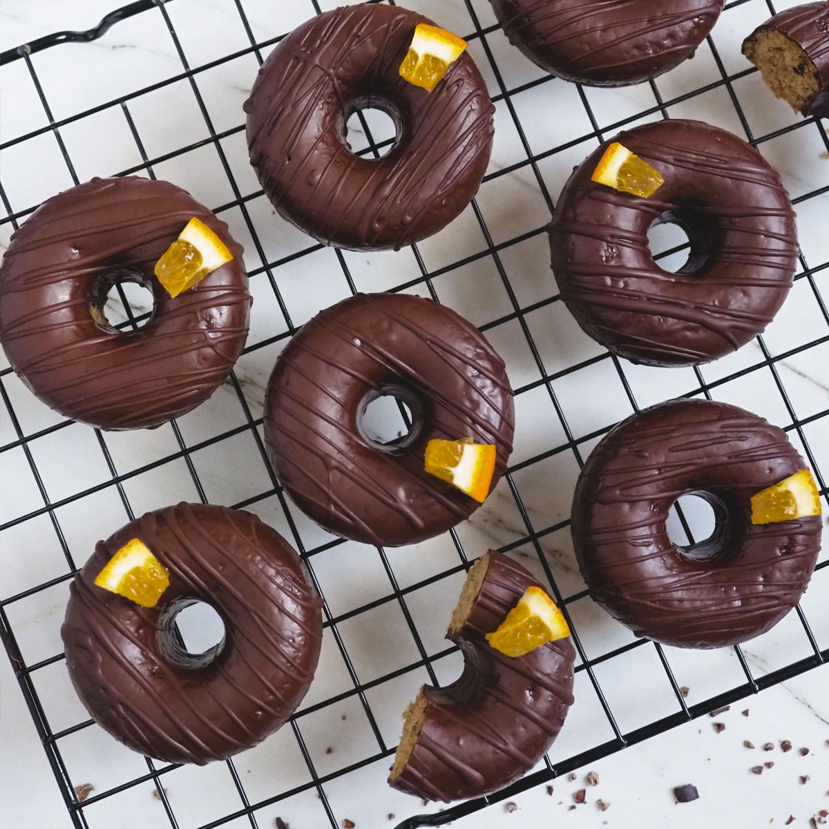 Donuts de chocolate y naranja sin gluten
