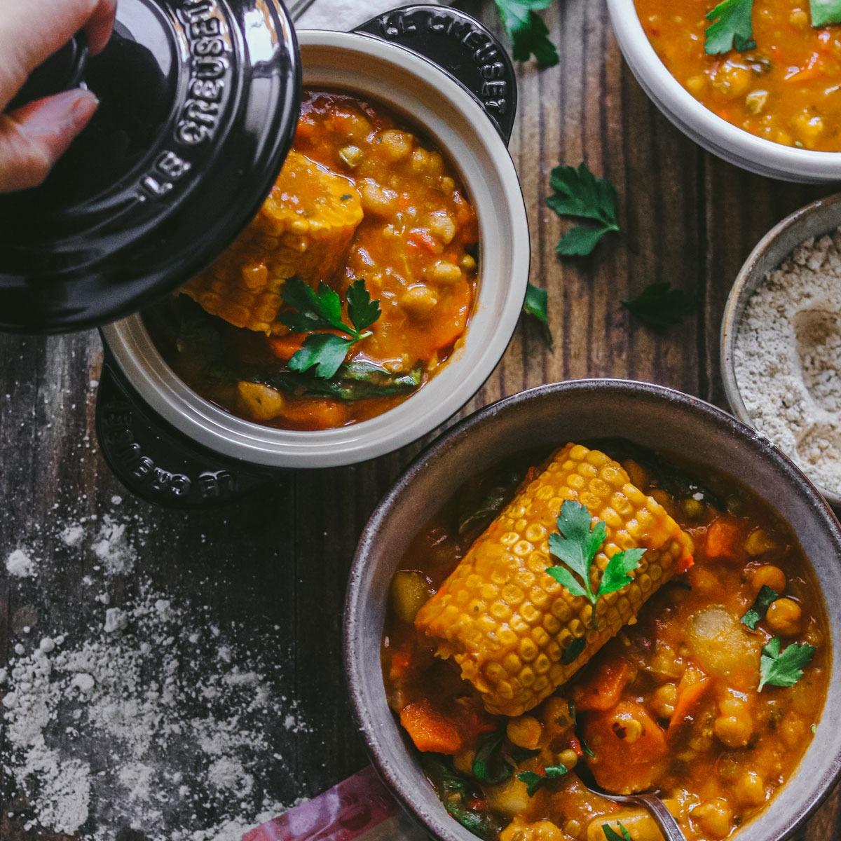 Potaje canario de verduras con Gofio