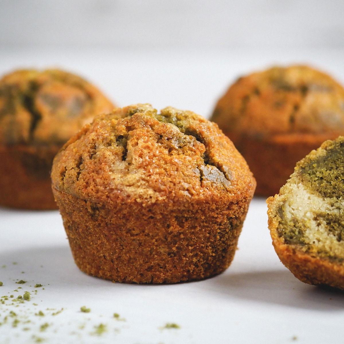 Muffins veganos de Matcha sin gluten
