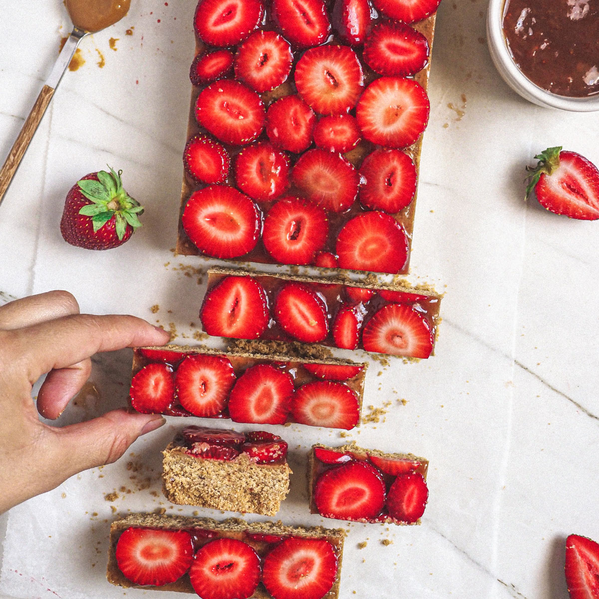 Barritas de avena, fresa y cacahuete